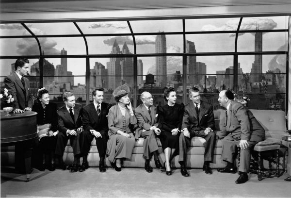Rope (1948)  Directed by Alfred Hitchcock Shown from left: Farley Granger, Edith Evanson, Douglas Dick, John Dall, Constance Collier, Cedric Hardwicke, Joan Chandler, James Stewart, Alfred Hitchcock