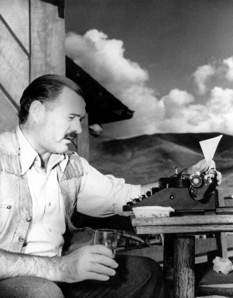 "** ADVANCE JUNE 10-11 FILE ** Nobel laureate Ernest Hemingway is shown at his typewriter as he works on ""For Whom the Bell Tolls"" at Sun Valley lodge, Idaho, in 1939. Hemingway arrived at this recently opened Sun Valley Resort in 1939 as one of a string of celebrities invited there in hopes of attracting more tourists. Nearly 70 years later _ and 45 years after the Nobel Prize winner's death in this central Idaho mountain town _ the resort area is still cashing in.   (AP Photo, File)"