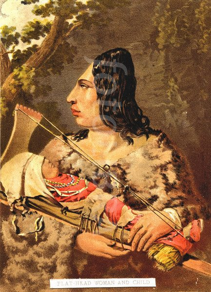 Flathead Indian Woman and Baby