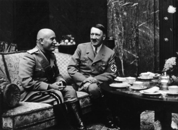 1937, Munich. Mussolini and Hitler at tea time