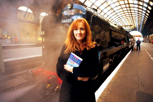 J. K. Rowling standing on the platform at King's Cross station, London Jan 28, 1999. J. K. Rowling is the author of the Harry Potter fantasy series, which has won multiple awards, and sold over 375 million copies worldwide. In 2006, Forbes named her the second richest female entertainer in the world, behind talk show host Oprah Winfrey, and she is the first person to become a US-dollar billionaire by writing books. +++(c) dpa - Report+++