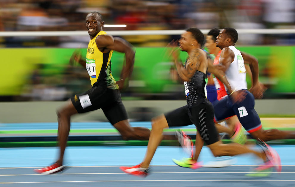 men's 100m semifinals at the Rio Olympics August 14, 2016.