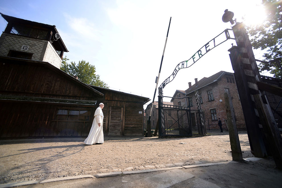 visit to the former Nazi death camp, Poland, July 29, 2016
