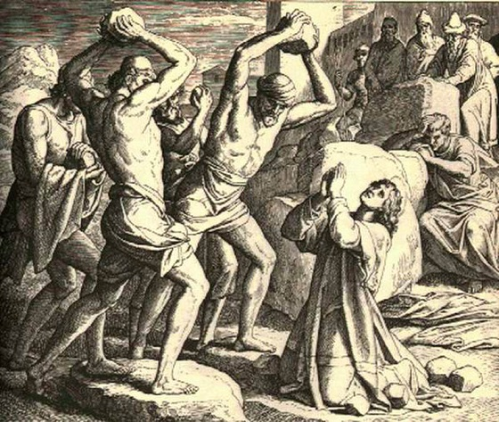 "19_Carosfeld_Stephen stoningArt on the www Stoning of Stephen, The  Artist:  CAROLSFELD, Julius Schnorr von   Date:  1851-60  Technique:  Engraving  Location:    Notes:  From ""Bibel in Bildern"""
