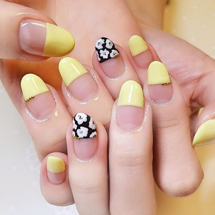 Yellow-Half-Nail-Design