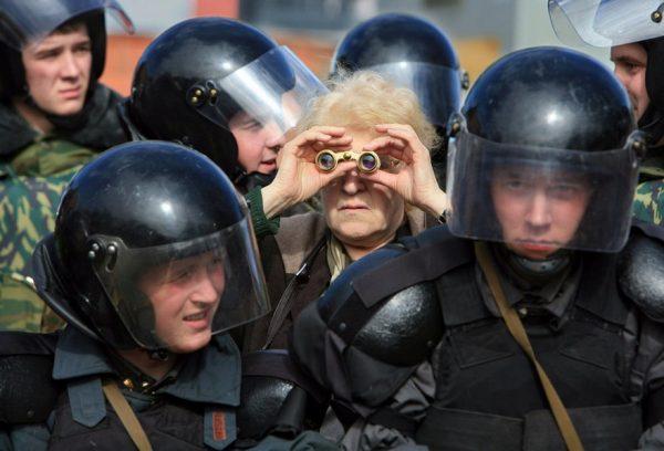 Political meeting of people in St.Petersburg Russia