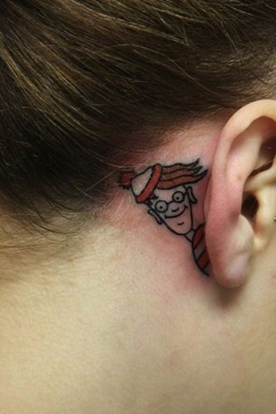 12-Cartoon-behind-ear-tattoo