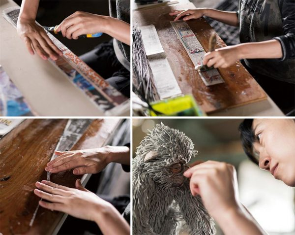 3-rolled-newspaper-animal-sculptures-paper-trails-chie-hitotsuyama-18