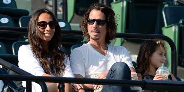 KEY BISCAYNE, FL - MARCH 20: Vicky Karayiannis and Chris Cornell are seen at Sony Open Tennis at Crandon Park Tennis Center on March 20, 2014 in Key Biscayne, Florida. (Photo by Uri Schanker/GC Images)