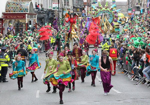 Floats are pictured during St Patrick's