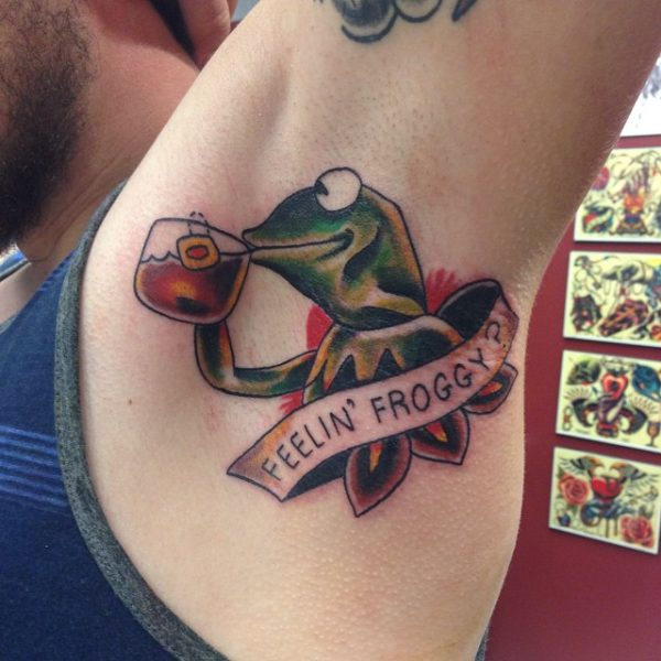 Feelin-Froggy-BAnner-And-Frog-Tattoo-On-Armpit