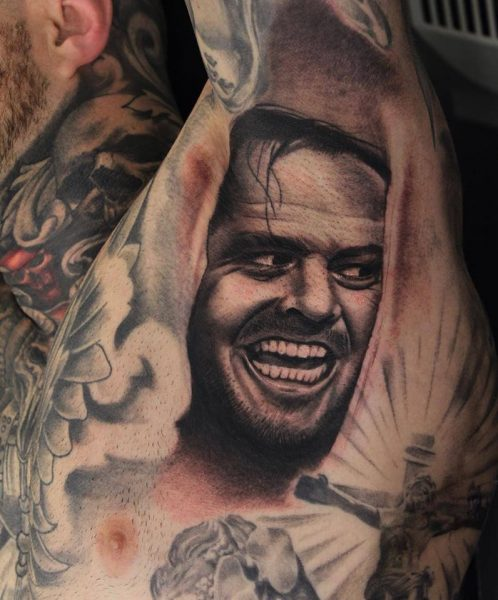 Grey-Ink-Portrait-Tattoo-On-Left-Armpit