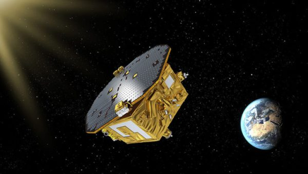 KOUROU, FRENCH GUIANA - DECEMBER 03:  In this undated handout photo provided by the European Space Agency an artist's impression shows the LISA Pathfinder orbiting over the Earth. ESA launched the LISA pathfinder on December 3, 2015 from its space station in French Guiana. The LISA Pathfinder is a probe that will test technologies required for the gravitational wave observatory, which is another probe scheduled for launch in 2034.  (Photo by ESA via Getty Images)