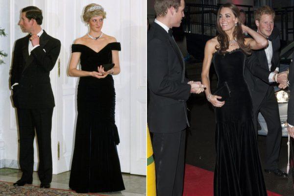 princess-diana-kate-middleton-black-gown