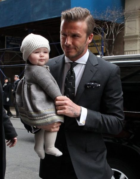 Victoria Beckham with David Beckham and daughter Harper in New York.