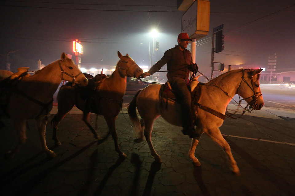 SHADOW HILLS, CA - DECEMBER 5: Horses are led from danger on Sunland Blvd. and Wheatland Ave. as the Creek Fire continues to threaten homes and ranches on December 5, 2017 in Shadow Hills, California. (Photo by Robert Gauthier/Los Angeles Times via Getty Images)