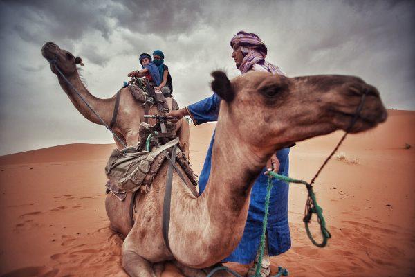 Camel riding in Merzouga, Morocco.