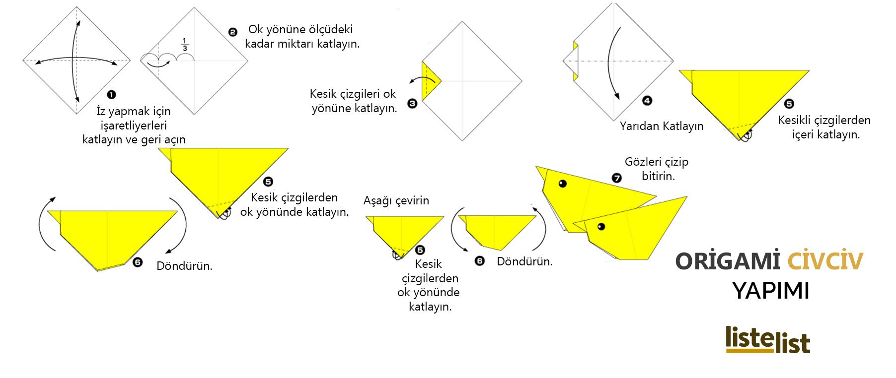 origami kağıt katlama sanatı örnekleri