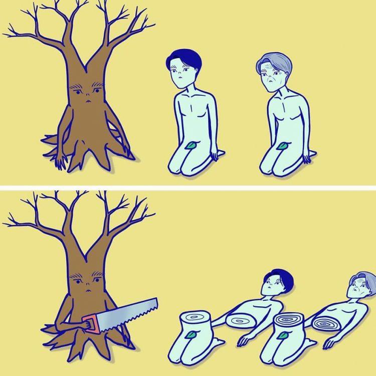 ağaç_Hung Rae _illüstrasyon_ironik_karamizah