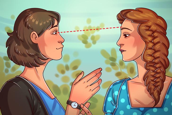 Karşınızdaki kişinin alnına bakmak etkileme