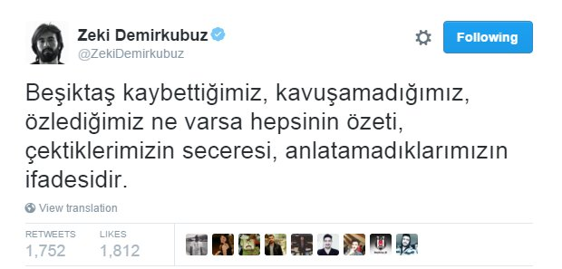 Zeki Demirkubuz tweet