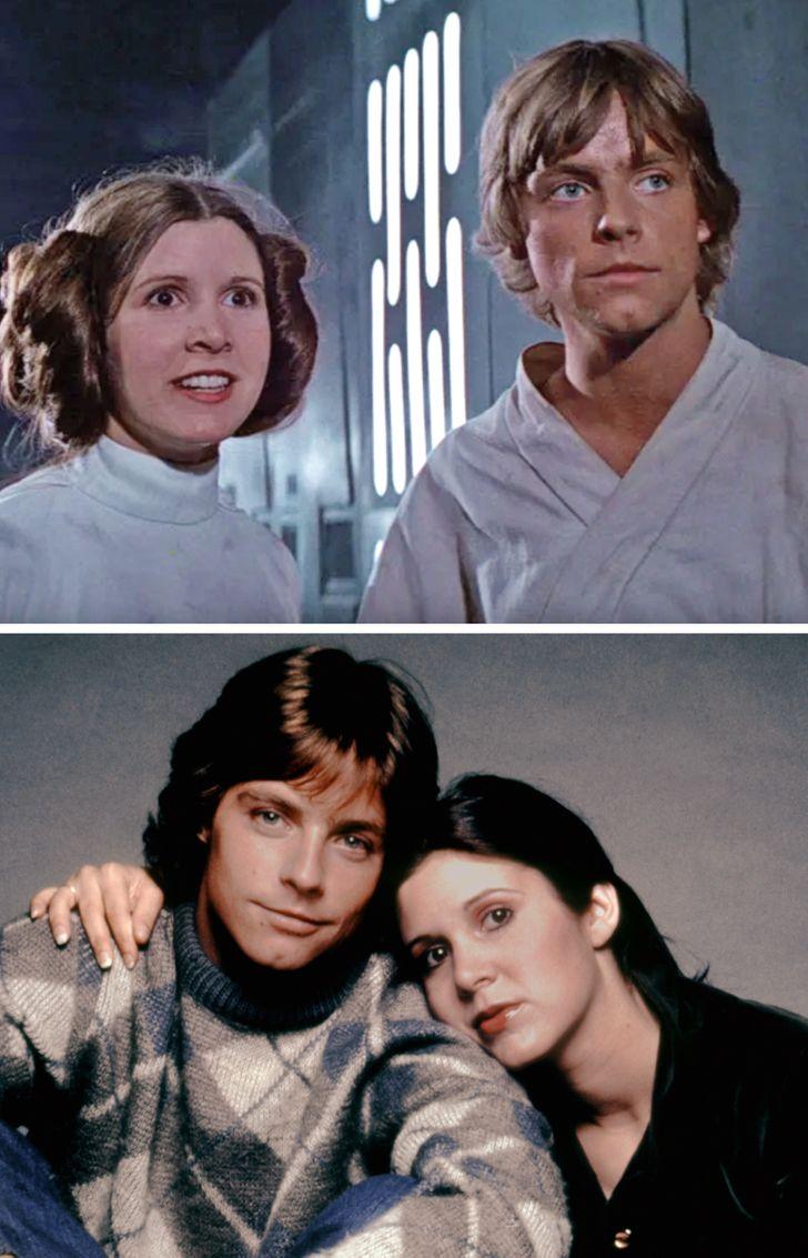 rol gereği kardeş olan çiftler Yıldız Savaşları'nda Carrie Fisher ve Mark Hamill