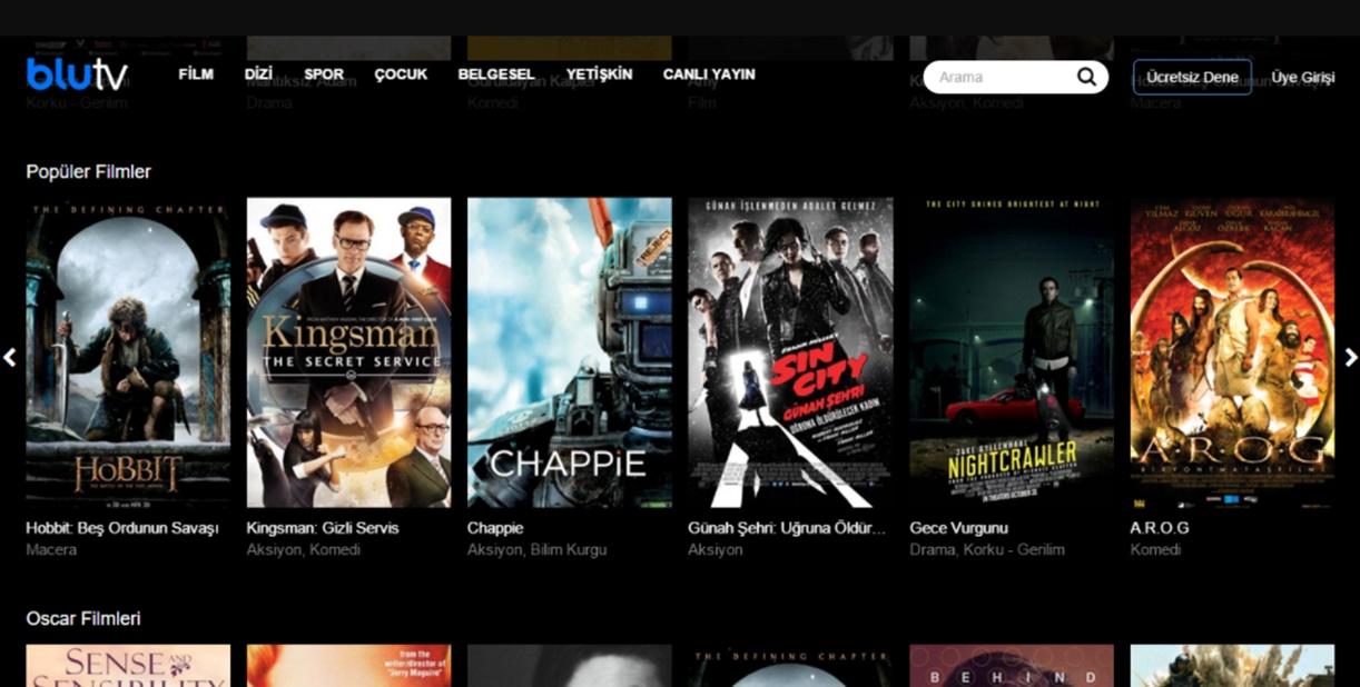 film ve dizi platformları BluTV