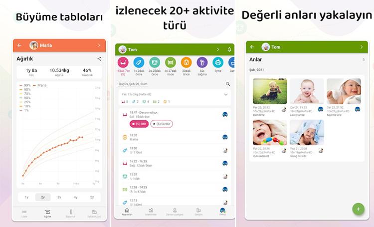 Baby Daybook telefon app listelist