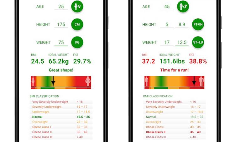 telefon sağlık uygulamaları listelist BMI Hesaplama