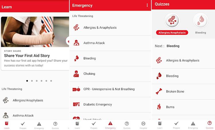 First Aid American Red Cross telefon sağlık uygulamaları listelist