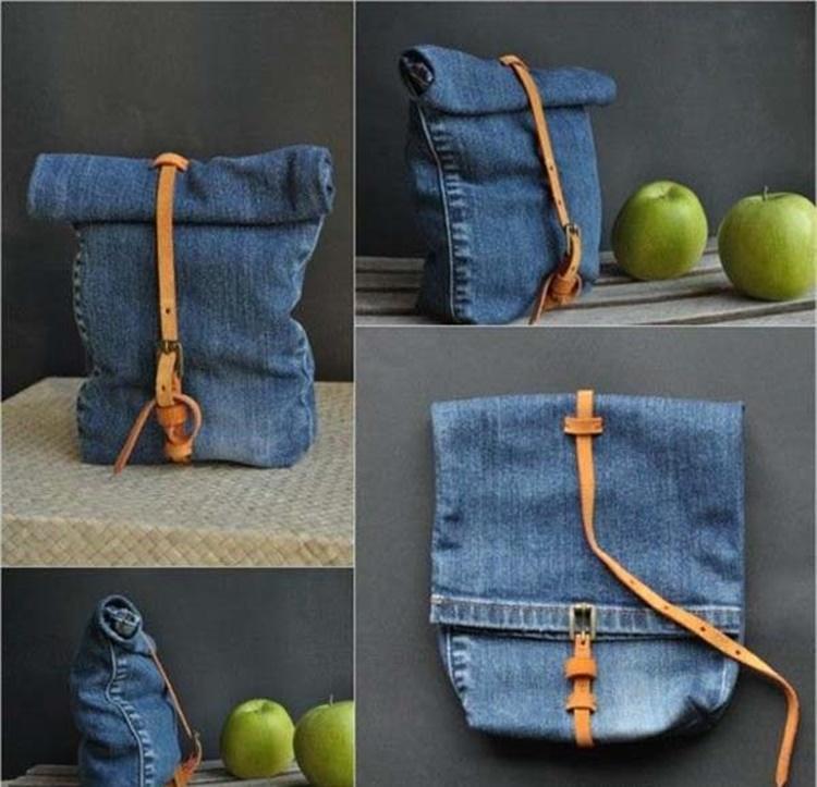 Eski kot pantolonlardan çanta